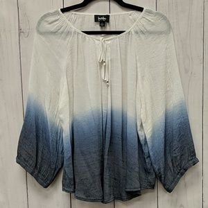 by& by Blue and White Ombre Flowy Summer Top
